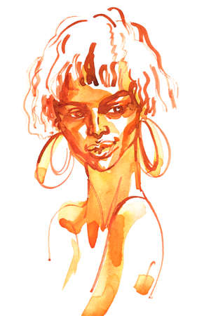Watercolor beauty african lady. Painting monochrome fashion illustration. Hand drawn portrait of young woman on white background