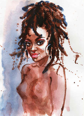 Watercolor beauty african woman. Painting fashion illustration. Hand drawn portrait of curly lady on white background Stock fotó