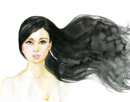 Watercolor beauty young woman. Hand drawn portrait of asian girl. Painting fashion illustration on white background Standard-Bild - 132002344