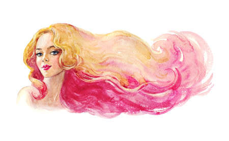 Watercolor beauty young woman. Hand drawn lady with blond and pink hair. Painting fashion illustration on white background