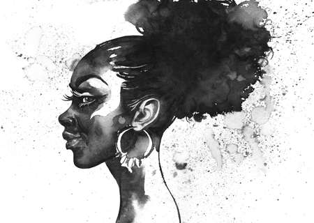 Watercolor beauty african woman. Painting black and white fashion illustration. Hand drawn portrait of pretty girl on white background