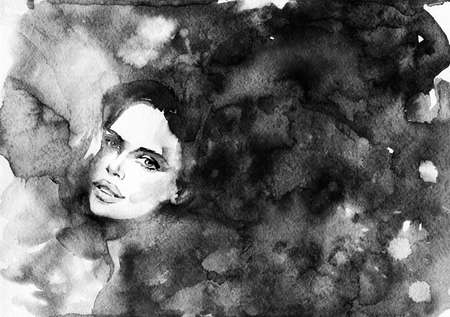Watercolor beauty portrait of woman. Hand drawn abstract black and white fashion illustration. Painting pretty ladys face with splashes