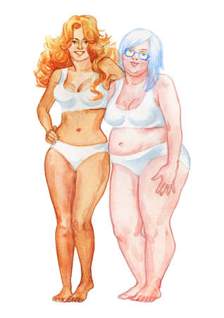 Painting couple of attractive women. Watercolor body positive illustration. Hand drawn smiling ladies Stock fotó - 132002467