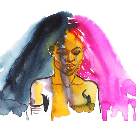 Watercolor beauty african woman. Painting fashion illustration. Hand drawn abstract portrait of young lady on white background
