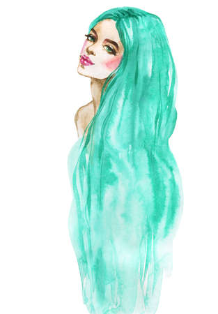 Watercolor beauty young woman. Hand drawn portrait of mermaid. Painting fashion illustration on white background Stockfoto