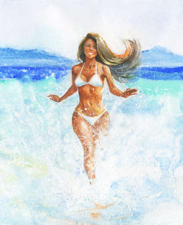 Watercolor woman portrait, seascape and mountains. Hand drawn sexual young lady on the beach. Painting summer illustration