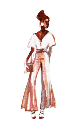 Watercolor beauty african woman. Painting fashion illustration. Hand drawn sketching portrait of pretty girl on white background