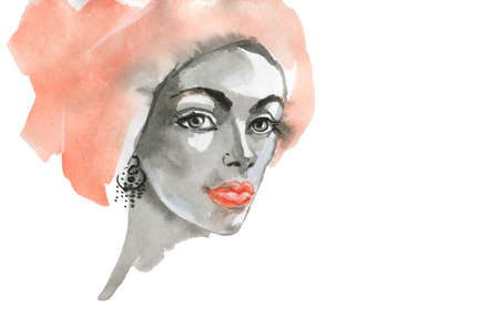Watercolor beauty young woman. Hand drawn portrait of african girl. Painting fashion illustration on white background Stock fotó