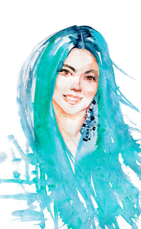 Watercolor beauty young woman with blue hair. Hand drawn portrait of smiling lady. Painting fashion illustration on white background Stockfoto