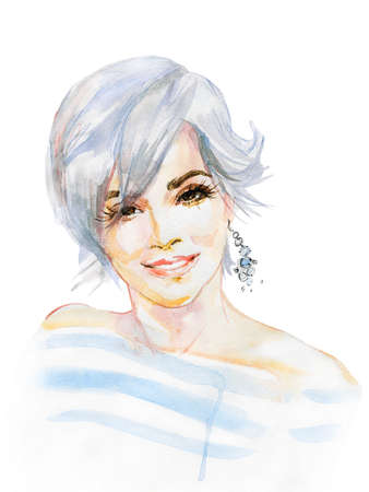 Watercolor beauty young woman with modern haircut. Hand drawn portrait of smiling happy lady. Painting fashion illustration on white background