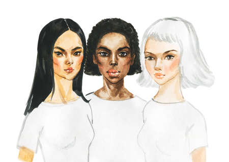 Watercolor portrait of asian, african and european young women. Painting fashion and feminist illustration. Hand drawn beautiful international ladies on white background