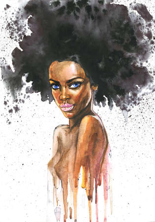 Watercolor beauty african woman. Painting fashion illustration. Hand drawn portrait of pretty curly girl on white background