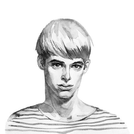 Watercolor handsome young man. Hand drawn monochrome portrait of boy. Painting fashion illustration on white background