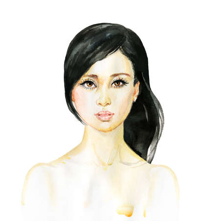 Watercolor asian young woman. Hand drawn portrait of beauty girl. Painting fashion illustration on white background Standard-Bild - 132007425