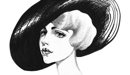 Sketching woman in hat. Hand drawn vintage portrait of lady. Painting fashion illustration on white background Stockfoto