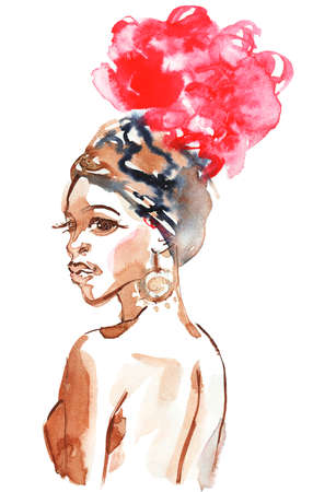 Watercolor beauty african woman. Painting fashion illustration. Hand drawn portrait of pretty girl on white background Stock fotó