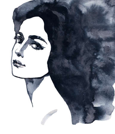Watercolor beauty young woman. Painting black and white portrait of girl. Hand drawn fashion illustration on white background