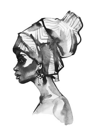 Watercolor beauty african woman. Painting black and white fashion illustration. Hand drawn portrait of pretty lady on white background