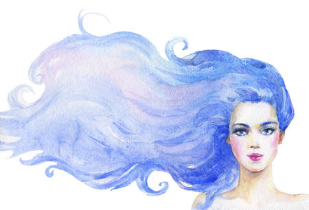 Watercolor beauty woman with long blue hair. Hand drawn portrait of young lady. Painting fashion illustration on white background