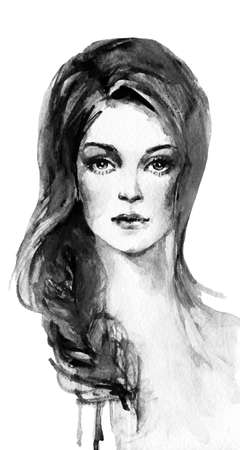 Watercolor portrait of young woman. Hand drawn beautiful lady Painting monochrome illustration in fashion style