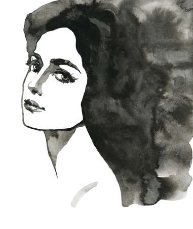 Watercolor beauty young woman. Hand drawn black and white portrait of girl. Painting illustration on white background