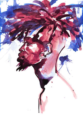 Watercolor handsome african man. Painting fashion illustration. Hand drawn portrait of young guy on white background with splashes Stockfoto
