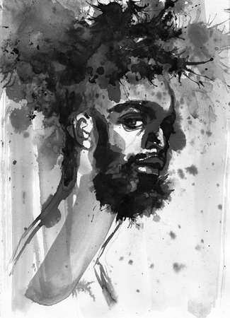 Watercolor handsome african man. Painting fashion illustration. Hand drawn portrait of young guy, rastaman with splashes Stockfoto