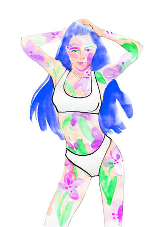 Hand drawn abstract woman with flowers. Painting ecology and fashion illustration. Hand drawn portrait of pretty lady in bikini