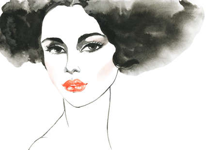 Watercolor beauty young woman. Hand drawn portrait of lady with red lips. Painting fashion illustration on white background