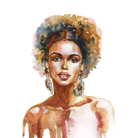 Watercolor beauty african woman. Painting fashion illustration. Hand drawn portrait of pretty girl on white background Stockfoto