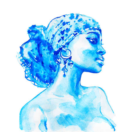 Watercolor beauty african woman. Painting fashion illustration. Hand drawn portrait of pretty girl on white background Standard-Bild - 132007919