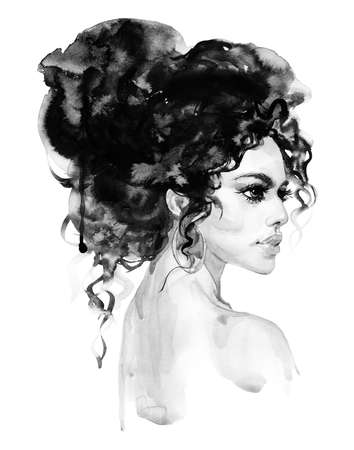 Watercolor beauty indian young woman. Hand drawn portrait of girl. Painting fashion illustration on white background Stock fotó