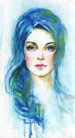 Watercolor young woman with blue hair. Hand drawn portrait of lady. Painting fashion illustration on background with splashes