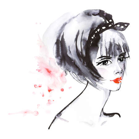 Painting beauty asian woman. Watercolor fashion illustration in anime style. Hand drawn portrait of pretty lady on white background with splashes