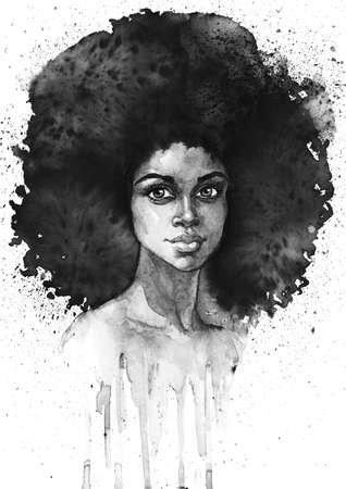 Watercolor beauty african woman. Painting monochrome fashion illustration with splashes. Hand drawn portrait of pretty curly lady on white background Stockfoto