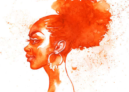 Watercolor beauty african woman side view. Painting fashion illustration. Hand drawn portrait of pretty girl on white background