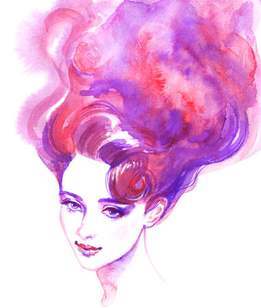 Watercolor beauty young woman. Hand drawn portrait of girl with long purple hair. Painting fashion illustration on white background