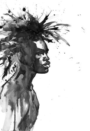 Watercolor handsome african man. Painting fashion illustration. Hand drawn portrait of young guy on white background with splashes Stock fotó