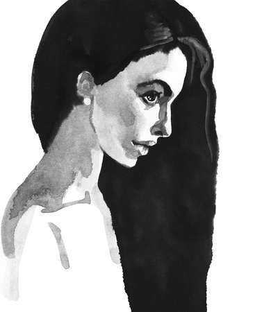 Watercolor beauty young woman. Hand drawn black and white portrait of lady. Painting fashion illustration on white background