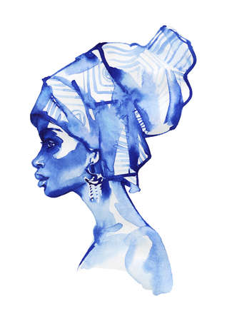 Watercolor beauty african woman. Painting monochrome fashion illustration. Hand drawn portrait of pretty girl on white background Stockfoto