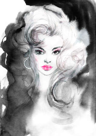 Watercolor beauty european woman. Painting fashion illustration in vintage style. Hand drawn portrait of pretty lady on white background