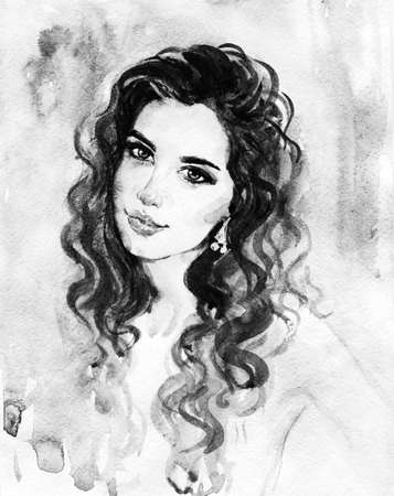 Watercolor beauty young woman. Hand drawn black and white portrait of girl. Painting fashion illustration on white background