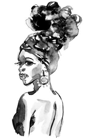 Watercolor beauty african woman. Painting monochrome fashion illustration. Hand drawn portrait of pretty girl with turban