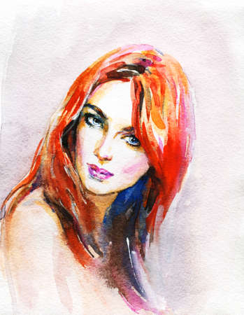 Watercolor beauty young woman. Hand drawn portrait of girl. Painting fashion illustration on pink background