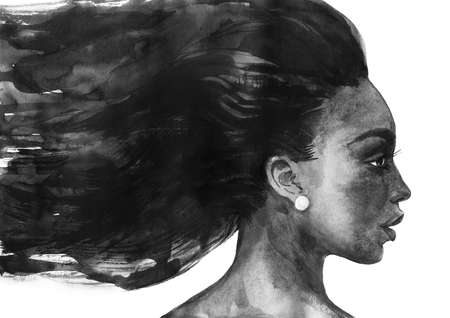Watercolor beauty african woman. Painting fashion illustration. Hand drawn portrait of pretty lady on white background