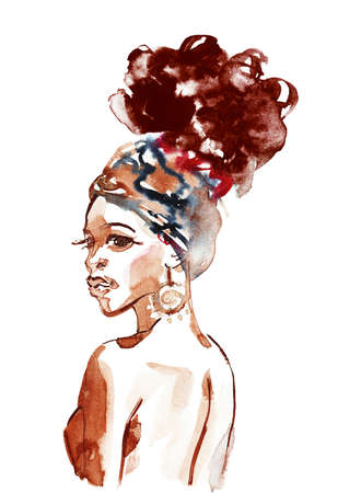 Watercolor beautiful african woman. Painting fashion illustration. Hand drawn portrait of pretty lady on white background