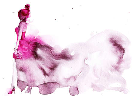 Watercolor beauty portrait of woman. Hand drawn abstract fashion illustration. Painting lady in pink dress