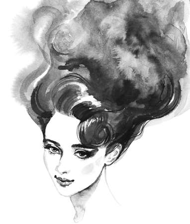 Watercolor beauty young woman. Hand drawn monochrome portrait of girl. Painting fashion illustration on white background Stock fotó