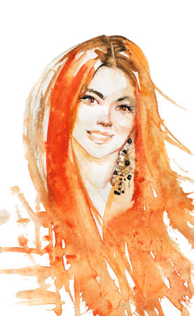 Watercolor beauty young ginger head woman. Hand drawn portrait of smiling lady. Painting fashion illustration on white background Stockfoto