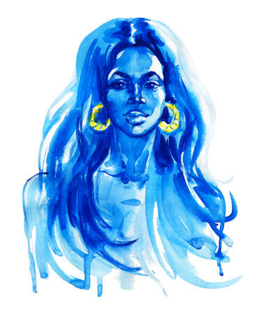 Watercolor beauty african woman. Painting fashion illustration. Hand drawn portrait of pretty girl on white background Standard-Bild - 132010242
